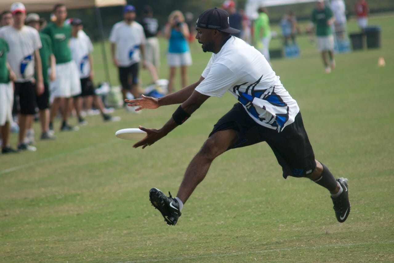 Nasser M'Bae Vogel, scoring against the Condors at the 2011 USA Ultimate Club Championships.
