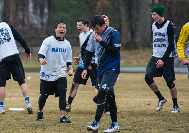Bentley gets fired up after scoring against Georgetown at the 2014 New England Open.