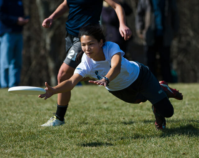A North Carolina player bids for the disc at Queen City Tune Up.