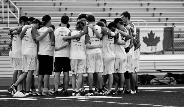 The Toronto Rush huddle up in Washington, D.C.