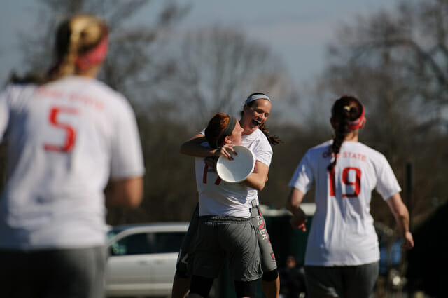 Ohio State celebrates a victory at the 2014 Queen City Tune Up.
