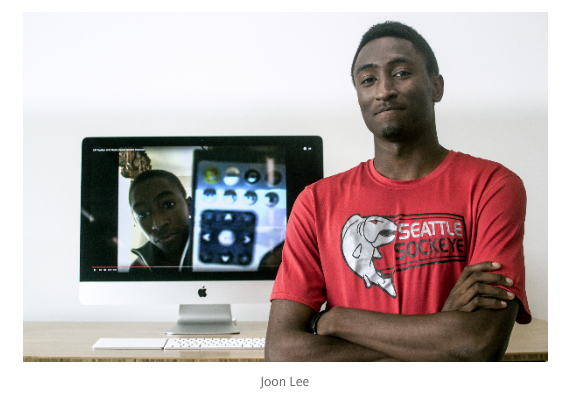Marques Brownlee poses in a Sockeye jersey for the feature's author, Joon Lee.